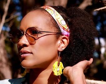Satin Retro Print Adjustable Headband - Natural Hair Accessory - Gift For Natural - Gift For Locs
