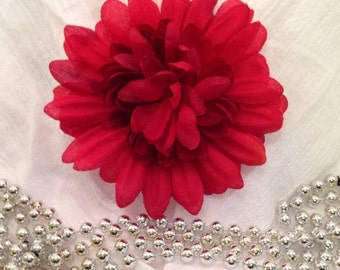 Flower Hairpin - Red, Natural Hair Accessory, Gift For Women, Red Flower, Hair Accent, Floral Hairpin
