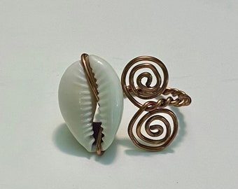 Cowrie Shell Ring - Copper Wire Ring - Seashell Ring - Cowry Shell Jewelry - Adjustable Ring
