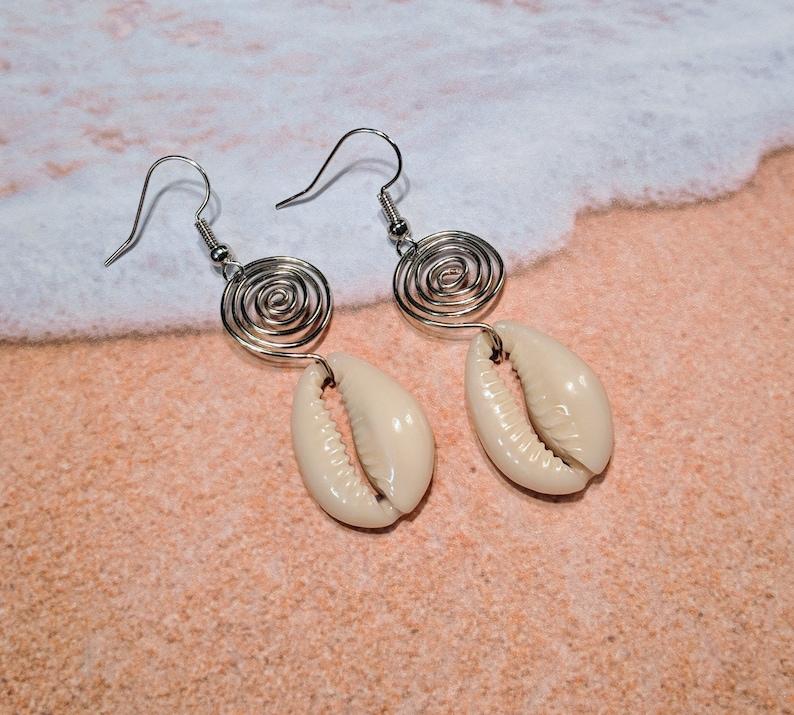 Cowrie Shell Earrings  Seashell Earrings  Afrocentric image 0