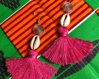 Cowrie Shell Tassel Earrings - Featured On Essence - Seashell Earrings - Afrocentric Jewelry - Cowrie Tassel Earrings - Cowry