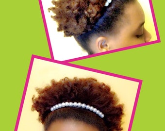 Pearl Afro Puff Holder - Natural Hair Accessory - Ouchless Band - Natural Hair Friendly - Natural Hair - Puff Holder - Gift For Black Women