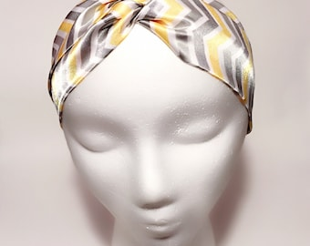 Satin Turban Headband - Yellow/Gray