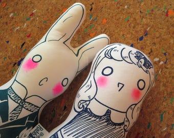 Alice in Wonderland dolls: Alice and the White Rabbit