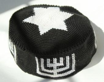 Black - Ugandan Hand-Knit Bukharian Style Kippah - Youth and Adult Sizes