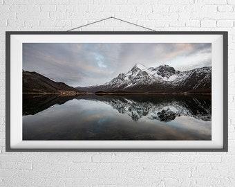 Fine Art Photography Print - Landscape, Panorama -  Fjord Reflections - Lofoten Islands, Norway