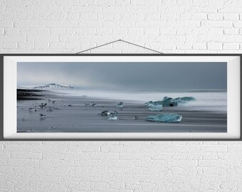 Fine Art Photography Print - Travel, Landscape, Nature, Panorama - Ice Beach - Jokulsarlon, Iceland
