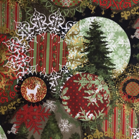 *NEW* CHRISTMAS GLITTER COTTON FABRIC PATCHWORK OFFCUTS REINDEER TREES RED CREAM