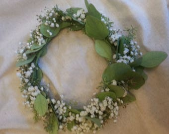 Fresh seeded eucalyptus & baby's breath flower crown
