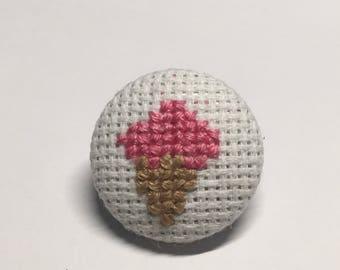 Ice cream cone --- cross-stitched pin