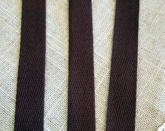 Twill cotton brown color made of 1.5 cm wide