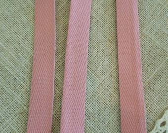 Twill cotton pink with 1 cm wide