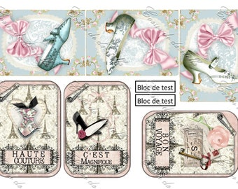 Board of transfers 6 images (7 x 10 cm each) themed shoes and vintage