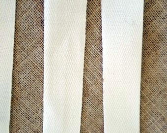 Twill cotton white color 2 cm cm wide