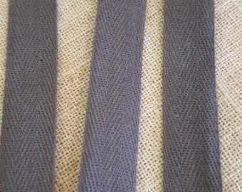 Twill cotton gray dark 1.4 cm wide