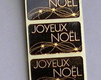 50 ADHESIVES Christmas tags for packaging gifts, gold and black paper