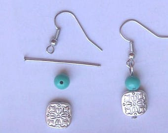 KIT EARRINGS with silver square bead and turquoise gemstone