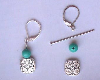 KIT LEVERBACK EARRINGS, with a silver square bead and a turquoise gemstone