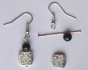 KIT EARRINGS with black onyx gemstone and silver square bead