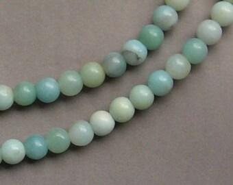 10 pearls AMAZONITE blue beads in stone gemstone, 6 mm diameter