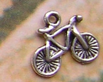 4 bike bicycle charms in silver