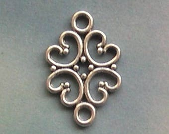 20 connectors for jewelry, silver-plated, Tibetan style spacer