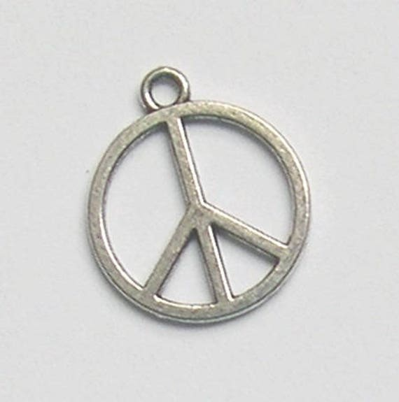 20 Charms Pendants Silver Love And Peace Symbol Etsy