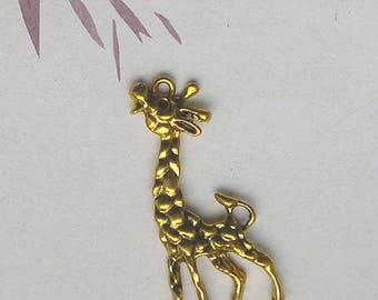 1 charm connector GIRAFFE decorated gold metal