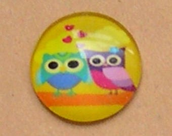 2 CABOCHONS love owl, round 20 mm
