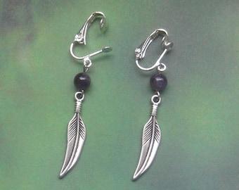 EARRINGS feather CLIPS, silver metal pen, purple amethyst stone