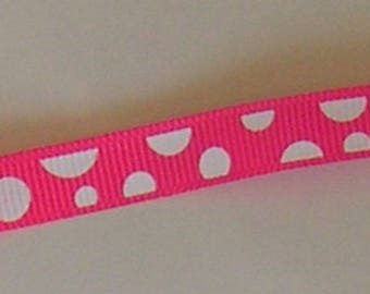 Ribbon with polka dot pink and white for sewing and embellishments