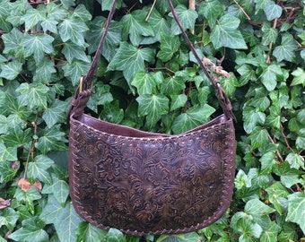Dark Brown Tooled Leather Purse / Chocolate Brown Leather Purse / Tooled Faux Leather Handbag / Dark Brown Detailed Tooled Leather Handbag