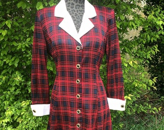 Red and Black Plaid Button Down Dress / Red Plaid Button Up Dress with White Collar / Vintage Red Plaid Button Up Dress / Red Plaid Dress