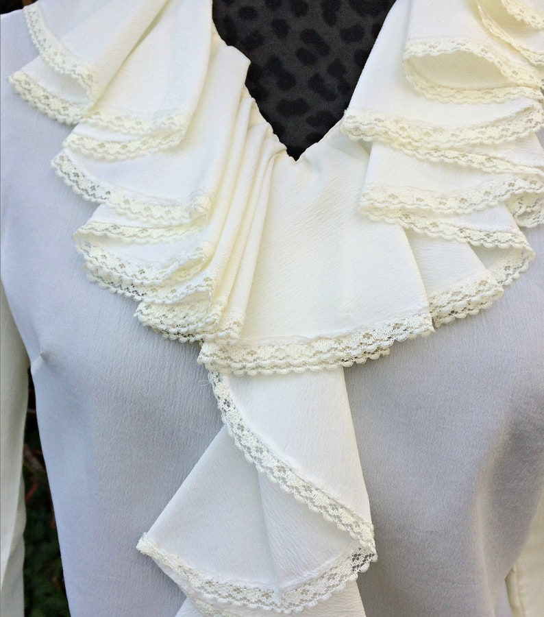 Vintage White Victorian Ruffle Lace Blouse  Teddi California White Lace Long Sleeve Blouse  Cream Semi Sheer Victorian Boho Shirt