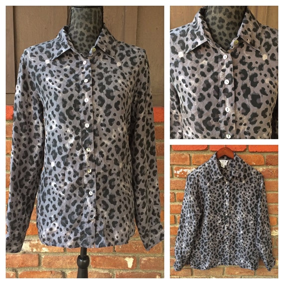 vintage 80s leopard print blouse gray leopard print blouse  80s shawl collar blouse Liz Claiborne top  gray /& black animal print shirt