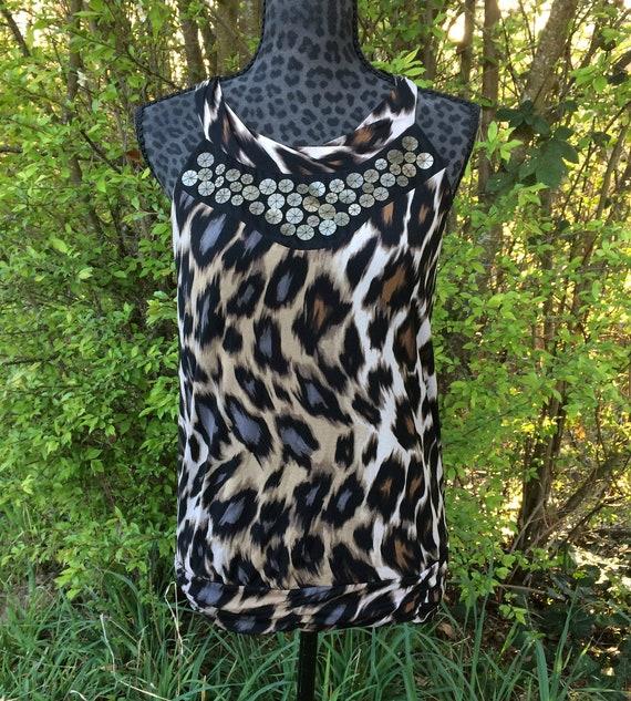 24423591096f Black Leopard Print Decorative Top / Black Animal Print | Etsy