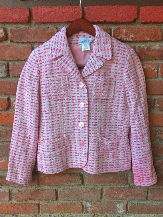 Bubblegum Pink Tweed Silk Jacket  Pink and White Tweed Blazer  Vintage Silk Tweed Jacket  J.G Size 8 Hook Pink and White Tweed Coat