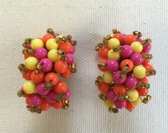 1960s Zesty Beaded Cluster Earrings