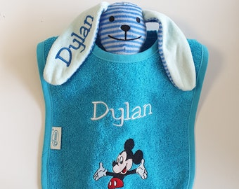 Set: Bib + doudou rabbit, customizable with first name and image, several colors to choose from