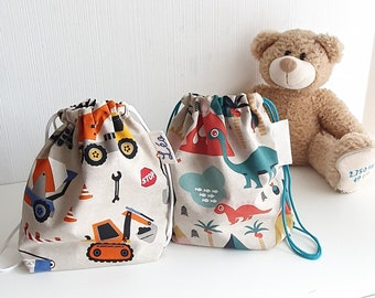 Mini patterned fabric backpack of your choice, for the little ones, personalized with first name