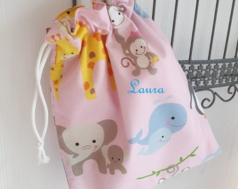 Personalized storage bag/pochon with first name 25 x 32 cm