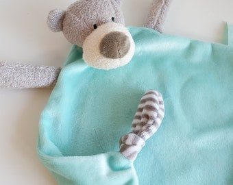 Doudou flat dog color mint embroidered with first name /small text, ultra soft