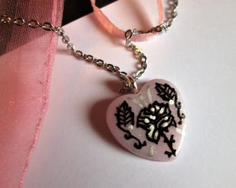 Polymer clay necklace handmade heart, with design, polymer, stainless steel chain, gold, pink, drawn by hand, lolita, pink flowers