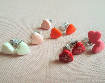 """Heart - """"hand-made"""", varnish, polymer clay heart, smart stainless steel, babydoll lolita, fimo, choice of color Stud Earrings"""