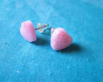 Small chips in heart, polymer clay and glitter, stainless steel, babydoll lolita, gift, varnish, kawaii, heart jewelry earrings