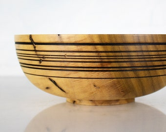 Rustic Wood Bowl, ITZEL, Wooden Dish Hand Turned from Spalted Rainbow Tulip Poplar (with Worm Holes)
