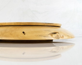 Wood Serving Dish, ELISE, Large Wooden Bowl Hand Turned from Spalted Box Elder