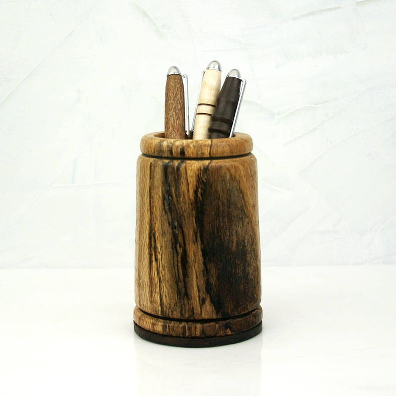 Wooden Pencil Holder Wood Pencil Cup Stonewall Wooden Pen image 0