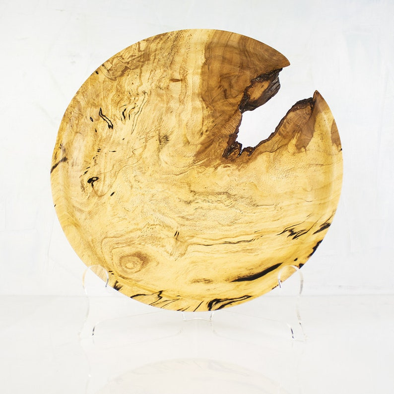 Decorative Wood Plate LYTTON a Hand Turned Spalted Beech image 0