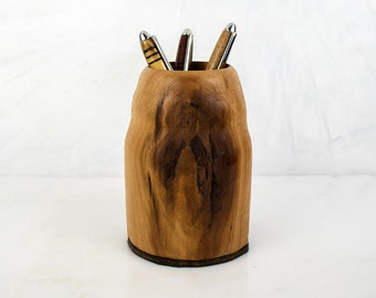 Handmade Wooden Pencil Cup, LORNE, Hand Turned Cherry Wood Pen Holder for Desk